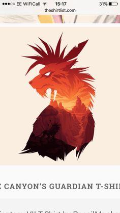 FFVII Red XIII shirt design. Good basis for a wolf tattoo design.