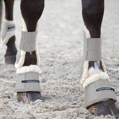 Horze Quintus Horse Over Reach Bell Boots Soft Faux Fur Trim - Non Rub / Chafe