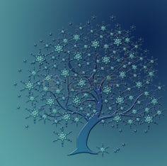 rboles hermosos cristales de nieve azules Foto de archivo
