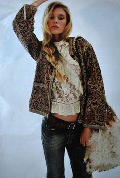 lace blouse with brocade jacket and shearling bag