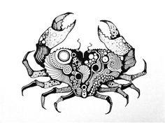 Crab by themajord Horoscope Tattoos, Cancer Tattoos, Zodiac Tattoos, Lobster Tattoo, Crab Cartoon, Hamsa Art, Irish Tattoos, Celtic Tattoos, Simple Cartoon
