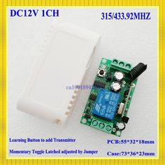 4.88$  Buy now - http://ali0x2.shopchina.info/go.php?t=32356634553 - DC 12V 1 CH Relay Receiver Wireless Remote Control Switch 315/433.92 RF Radio Frequency RX Learning  Momentary Toggle Latched  #SHOPPING