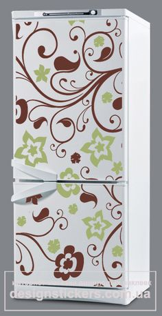 fridgerator covered with fun paper Fridge Decor, Fridge Stickers, Vinyl Projects, Paracord, Paper Goods, Future House, Tiny House, Arts And Crafts, Indoor