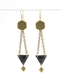 Sacred Geometry Earrings featuring TierraCast Flower of Life Buttons. Design by Tracy Gonzales for TierraCast. Project Sheet available.