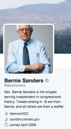 Is Bernie Sanders a Social Media Nerd? http://www.socialmediatoday.com/social-networks/2015-05-18/bernie-sanders-social-media-nerd?utm_content=buffer3fc8d&utm_medium=social&utm_source=pinterest.com&utm_campaign=buffer