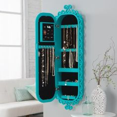 Belham Living Wall Scroll Locking Jewelry Armoire - Turquoise - Womens Jewelry…