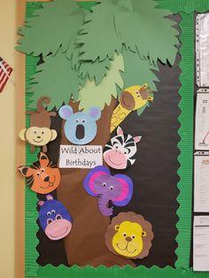 Trendy wild animal art for kids bulletin boards Safari Bulletin Boards, Birthday Bulletin Boards, Birthday Board, Jungle Classroom Door, Classroom Themes, Rainforest Classroom, Preschool Jungle, Preschool Activities, School Decorations