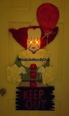 Check out this item in my Etsy shop https://www.etsy.com/listing/543251796/it-clown-wreath-it-clown-door-hanger