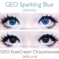 GEO Sparkling series features a light, refreshing design bordered by a dashed limbal ring to provide a glistening effect on the eyes. SHOP at EyeCandy's with LOVE!  #eyecandys #colorcontacts