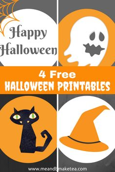 Free halloween printables including  ghosts cats witches hats and happy halloween signs! Get them now and make your home spooky this Halloween! Perfect for parties and decorating the home!