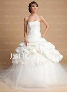 Wedding Dresses - $221.69 - Ball-Gown Strapless Court Train Taffeta Tulle Wedding Dress With Lace Sequins (002014699) http://jjshouse.com/Ball-Gown-Strapless-Court-Train-Taffeta-Tulle-Wedding-Dress-With-Lace-Sequins-002014699-g14699