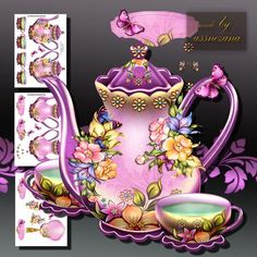 Colorful Flowers with Teapot on Craftsuprint designed by Atlic Snezana - Colorful Flowers with Teapot: 3 sheets for print with decoupage for 3D effect plus few sentiment tags (for your own personal text) - Now available for download!