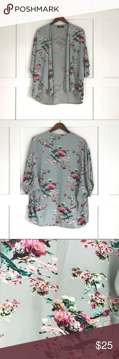 ASOS Floral Cardigan Muted teal color with beautiful spring Floral print. Short sleeve dolman sleeves. ASOS Sweaters Cardigans