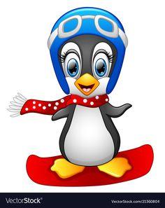 Cute penguin snowboarding vector image on VectorStock Penguin Clipart, Penguin Cartoon, Penguin Art, Cute Clipart, Cute Cartoon, Penguins And Polar Bears, Cute Penguins, Art Drawings For Kids, Cute Drawings