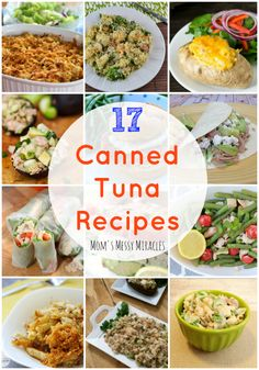 17 Canned Tuna Recipes including lunch, dinner, side dishes and dishes perfect for potlucks! Yummy Recipes, Lunch Recipes, Dinner Recipes, Cooking Recipes, Yummy Food, Healthy Recipes, Cheap Recipes, Cooking Tips, Vegetarian Recipes