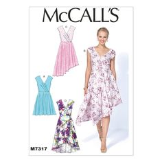 McCall's 7317 Sewing Pattern - Misses' Pleated Surplice Dress