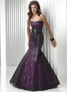 Hot+Sell+Purples+Black+Lace+Mermaid+Prom+Evening+Party+Dresses+Formal+Ball+Gowns