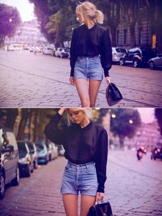 Vintage Blouse and denim shorts looking so cool Vintage Blouse, Vintage Shorts, Vintage Outfits, Vintage Fashion, Street Style Vintage, Denim Blouse, Denim Shorts, Waisted Denim, Sheer Blouse