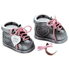 3ed26ddfeb5f Tooth Curl Pewter Shoes Set. Personalised Christening GiftsPersonalized Baby  ...