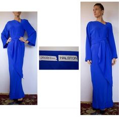 """70s Vintage Original Blue HALSTON Dress 4/6 No size tag but could fit anywhere from a 2-6. EXCELLENT pre-owned condition! Never worn. Seam is just starting to unravel in the front 'V' neckline but could easily be fixed by a seamstress. Electric blue Most likely polyester Bust: 40"""" Hips: 40"""" Length: 62"""" Long sash could be worn as a long scarf or wrapped several times as a belt. Gorgeous asymmetrical 'V' neckline and in the back. Flared sleeves Lined From Saks Fifth Avenue Near PERFECT…"""