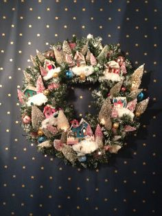 MARTHA STEWARTS VILLAGE WREATH WITH PUTZ HOUSES AND BLEACHED TREES BY SUSIE BREWSTER Go to my Etsy shop to order fanciesforyou@estsy.com