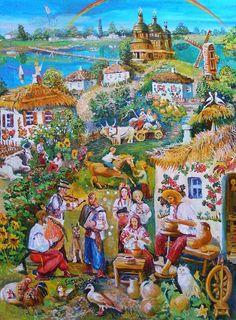"""""""A villige Synytsya"""",( Selo Synytsya"""", painting by Evelina Beketova, Ukraine, from Iryna with love"""