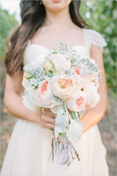 peach garden rose and dusty miller bouquet by Going Lovely