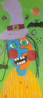 Step by step Halloween picasso lesson. Halloween Art Projects, Theme Halloween, Fall Art Projects, School Art Projects, Kindergarten Art, Preschool Art, Art 2nd Grade, Second Grade, Art Picasso