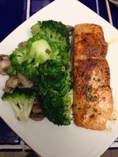Salmon with broccoli & mushroom garlic sauté