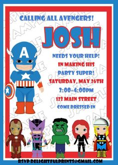 Avengers Birthday Invites- EXACTLY WHAT WE'RE LOOKING FOR... DRESS TO IMPRESS!!!
