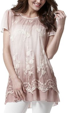 Pink Floral Lace Short-Sleeve Top - Plus