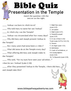 Free Bible Quiz: Presentation in the Temple. Printable Bible lessons for Homeschoolers, Sunday School and Sabbath School students and teachers. Sunday School Activities, Bible Activities, Sunday School Lessons, Bible Games, Bible Study For Kids, Bible Lessons For Kids, Kids Bible, Children's Bible, Bible Quiz