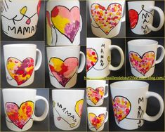 Pour accompagner la carte théière, les enfants ont décoré une tasse ou mug. J'ai dessiné un coeur (avec un feutre spécial porcelaine), puis ils l'ont rempli avec de la peinture porcelaine avec des coton-tiges. Je leur ai demandé de faire des petits points...