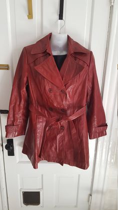 1970's Red Leather Coat Vintage Western Style Leather Jacket Coat by EQVintage on Etsy