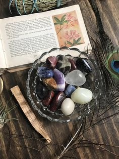Glass Dish of Tumbled Stones // Mixed Tumble Stone Set // Crystal Decor // Sacred Space // Glass Bowl with Crystals