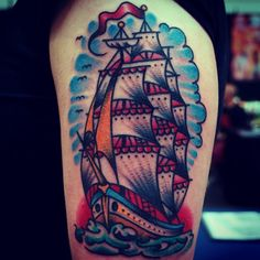 CHRISTIAN OTTO // EXPERT TATTOOER AT BURNOUT INK, PALMA'S FINEST | Dortmund Convention. #traditional #clipper #ship...