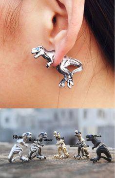 So cute Fashion 3D Dinosaur Animal Earrings stud ! #earring #3D #animal #studs #dinosaur