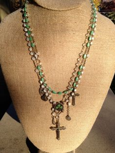 Assemblage Necklace of Antique and Vintage Rosaries, Medals, and Shamrock Center