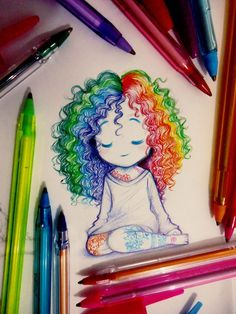 Girl Drawing Sketches, Girly Drawings, Art Drawings Sketches Simple, Pencil Art Drawings, Colorful Drawings, Cartoon Drawings, Cool Simple Drawings, Ideas For Drawing, Doodle Art Drawing