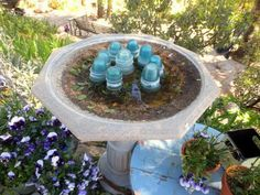 Easy steps to a clean birdbath (I'm using vinegar and baking soda as it will also kill algae and salmonella ~ I don't use bleach in my house)