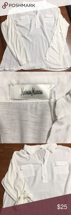 Stunning Neiman Marcus Collared Shirt! Beautiful v-neck blouse. Brand new without tags, never worn. Can wear long sleeve or roll them up and button with tab. Such a versatile, timeless shirt! Dress up with black pants or dress down with distressed denim. This shirt is more of an off white than a stark crisp white. Definitely not cream.   Bundle and save! Neiman Marcus Tops Blouses