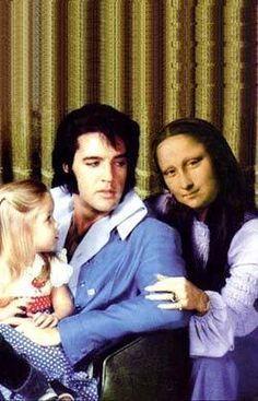Mona & Elvis - wife and husband Monnalisa Kids, Mona Lisa Parody, Mona Lisa Smile, Art Jokes, Funny Caricatures, Photo Album Scrapbooking, Cultura Pop, Cool Pictures, People