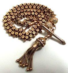 Victorian 9ct/K gold Double Albert Chain & Bracelet Tassel Charm