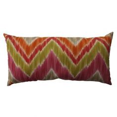 """100% Cotton pillow with chevron motif.  Product: PillowConstruction Material: 100% Cotton cover and recycled virgin polyester fiber fillColor: FruittiFeatures:  Insert includedKnife edgeSewn seam closure Dimensions: 11.5"""" x 23""""Cleaning and Care: Spot clean"""