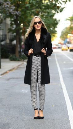 coat with v neck blouse and printed pants