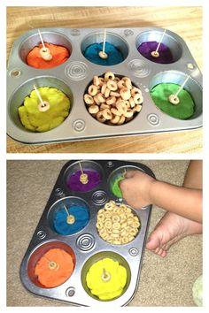 Fine motor skills, quiet time, toddler activity! Didn't have spaghetti noodles, so I put tooth picks in play-doh and had her put the Cheerios on them