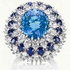 Oval paraiba tourmaline and diamond ring by Harry Winston