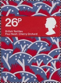 British Textiles 26p Stamp (1982) 'Cherry Orchard' (Paul Nash)