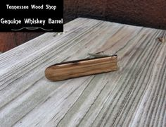 Genuine Whiskey Barrel Wood Skinny Tie Bar Handmade by TennesseeWoodShop on Etsy