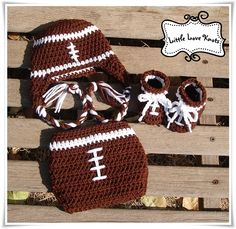 Darling football set Handmade by Little Love Knots